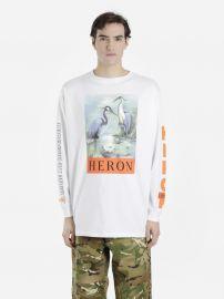 White Long Sleeved Printed T-shirt by Heron Preston at Antonioli