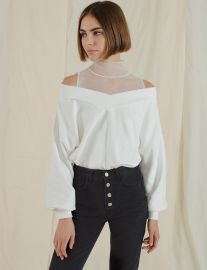 White Mesh Off The Shoulder Sweatshirt by Pixie Market at Pixie Market