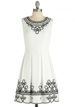 White and black embroidered dress at Modcloth