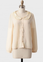 White blouse with embellished collar at Ruche