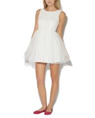 White crochet tulle dress at Wet Seal