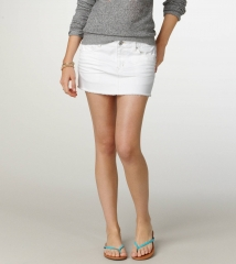 White denim mini skirt at American Eagle