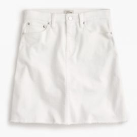 White denim skirt with raw hem at J. Crew