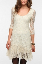 White lace drop hem dress at Urban Outfitters at Urban Outfitters