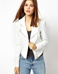 White leather biker jacket at Asos