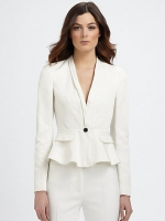 White peplum blazer by Burberry at Saks Fifth Avenue