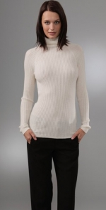 White ribbed turtleneck by Vince at Shopbop