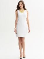 White sheath dress at Banana Republic