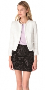 White tweed jacket by Alice and Olivia at Shopbop