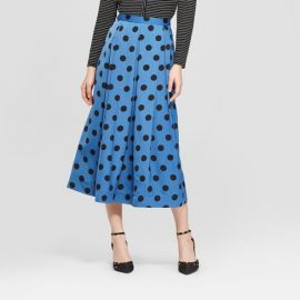 Who What Wear Polka Dot Birdcage Midi Skirt at Target