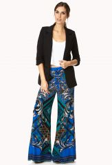 Wide Leg Pants in Scarf Print at Forever 21