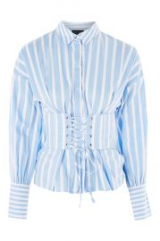 Wide Stripe Corset Shirt at Topshop