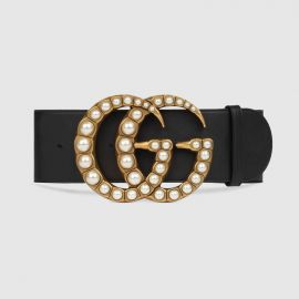 Wide leather Belt with Pearl Double G by Gucci at Gucci