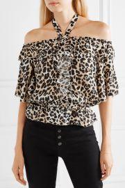 Wild Cat off-the-shoulder leopard-print crepe top at Net A Porter