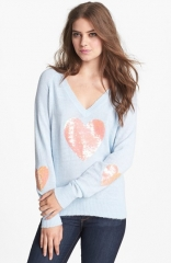 Wildfox Happy Heart Sequin Sweater at Nordstrom