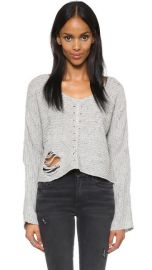 Wildfox Terra Crop Sweater in Grey at Shopbop