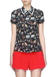 Willa Ruffle Collar Animal Print Silk Top by Alice + Olivia at Lane Crawford