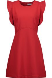 William ruffled embroidered crepe mini dress red at The Outnet