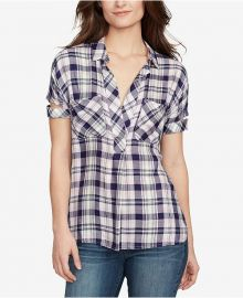 William Rast Plaid V-Neck Shirt at Macys