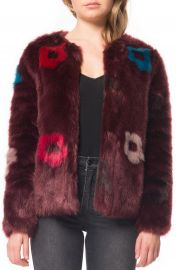 Willow   Clay Flower Faux Fur Jacket at Nordstrom