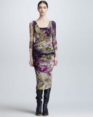 Winter Garden Print Surplice Dress by Jean Paul Gaultier at Neiman Marcus