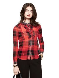 Woodland Plaid Crinkle Chiffon Blouse by Kate Spade at Kate Spade