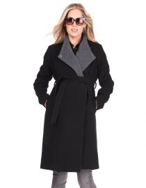 Wool & Cashmere Black Maternity Coat by Seraphine at Seraphine