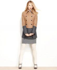Wool-Blend Colorblock Pea Coat by Nine West at Macys