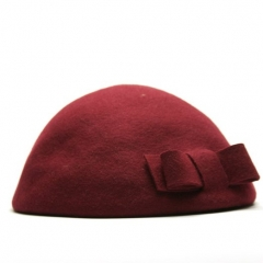 Wool Felt Bow Beret in purple at Amazon