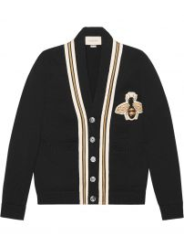 Wool cardigan with bee applique at Gucci