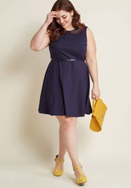 Work to Play A-Line Dress in Navy Rainbow at ModCloth