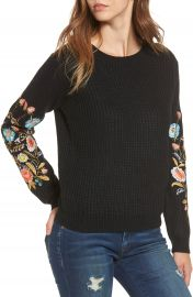 Woven Heart Embroidered Waffle Stitch Sweater at Nordstrom