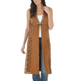 Wrangler Faux Suede Laser Cut Duster at Boot Barn