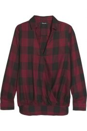 Wrap-effect checked voile shirt at The Outnet