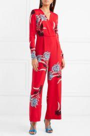 Wrap-effect floral-print crepe jumpsuit at Net A Porter