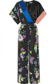 Wrap-effect printed silk jumpsuit at The Outnet
