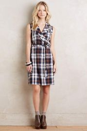 Wrapped Plaid Dress at Anthropologie