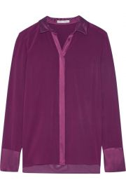 Wyatt satin-trimmed silk-blend chiffon shirt x at The Outnet