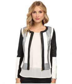 XOXO Colorblocked Faux Leather Jacket Black at 6pm