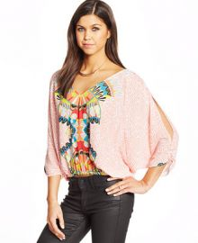 XOXO Juniors Printed Batwing Top at Macys