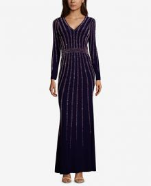 XSCAPE Vertical-Embellished Evening Gown Women -  Dresses - Macy s at Macys