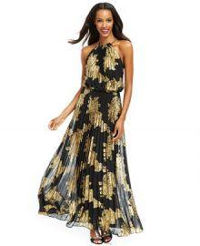 Xscape Metallic-Print Halter Gown at Macys