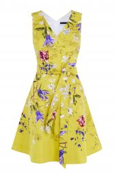 YELLOW FLORAL A-LINE DRESS at Karen Millen
