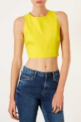Yellow Cutout Crop Top at Topshop