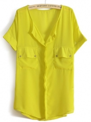 Yellow chiffon blouse at She Inside