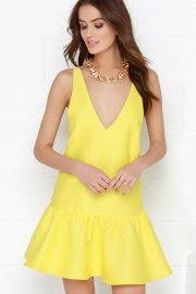 Yellow drop waist dress at Lulus