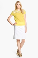 Yellow pearl embellished sweater by Tory Burch at Nordstrom