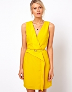 Yellow wrap dress at ASOS at Asos