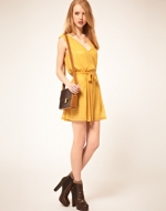 Yellow wrap dress from ASOS at Asos