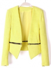 Yellow zipper blazer at She Inside